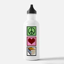 Peace Love Books Water Bottle