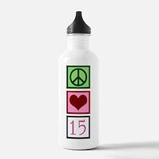 Peace Love Fifteen Sports Water Bottle