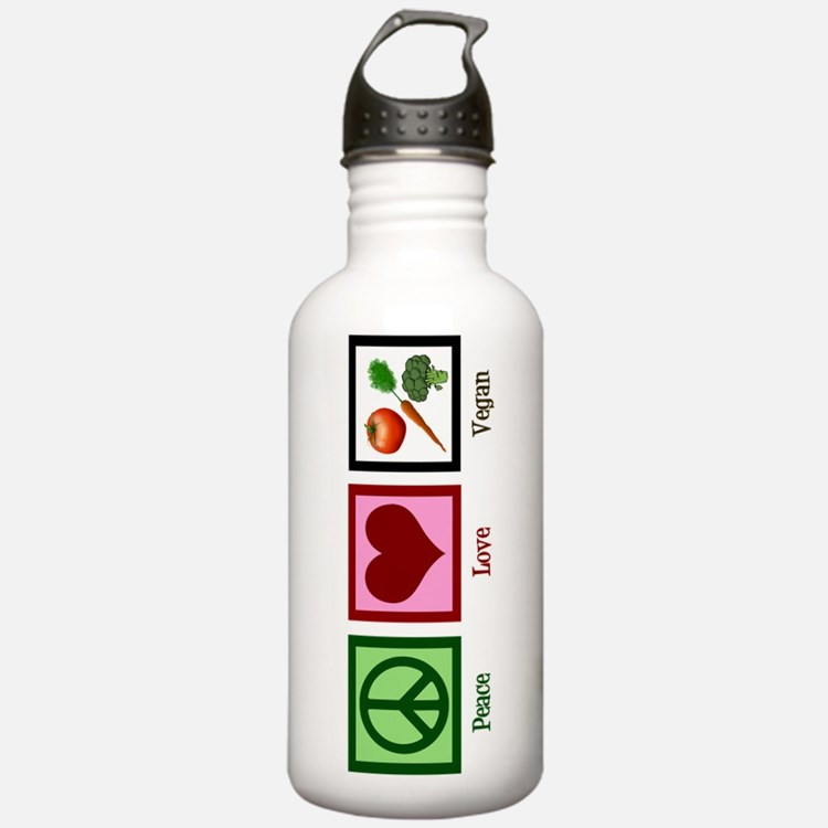 Peace Love Vegan Water Bottle