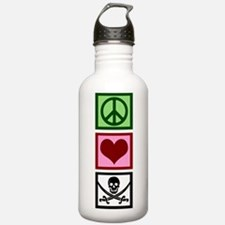 Peace Love Pirates Water Bottle
