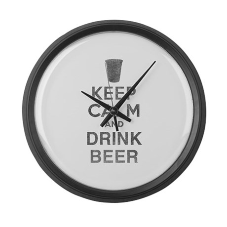 Keep Calm and Drink Beer Large Wall Clock