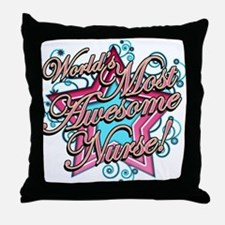 Worlds Most Awesome Nurse Throw Pillow