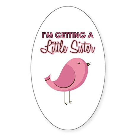 Sister to Be Pink Bird Sticker (Oval 10 pk)