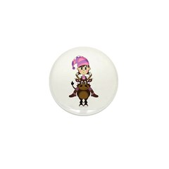 Christmas Elf Riding Reindeer Mini Button (10 pk)