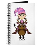 Cute Christmas Elf Riding Reindeer Journal