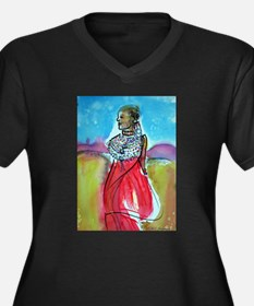 Africian Queen, Colorful, Women's Plus Size V-Neck