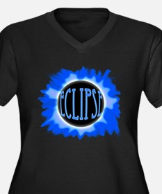 Eclipse Blue Women's Plus Size V-Neck Dark T-Shirt