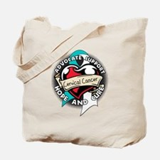 Heart Ribbon Cervical Cancer Tote Bag