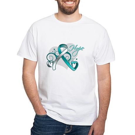 Hope Ribbon Cervical Cancer White T-Shirt