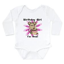 Monkey 1st Birthday Girl Long Sleeve Infant Bodysu