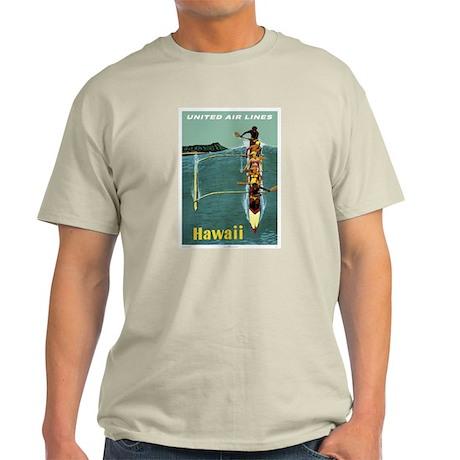 Vintage United Waikiki Poster Ash Grey T-Shirt