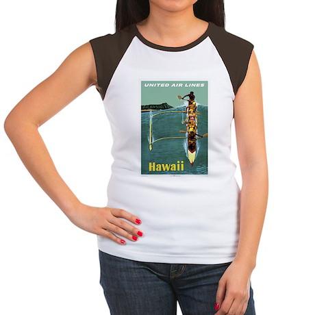 Vintage United Waikiki Poster Women's Cap Sleeve T