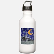 Starry night black cat Water Bottle