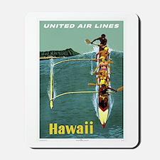 Vintage United Waikiki Poster Mousepad