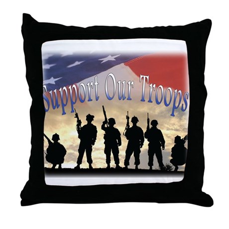 Support Our Troops Soldiers Throw Pillow