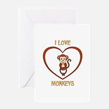 I Love Monkeys Greeting Card