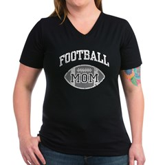 Football Mom Women's V-Neck Dark T-Shirt