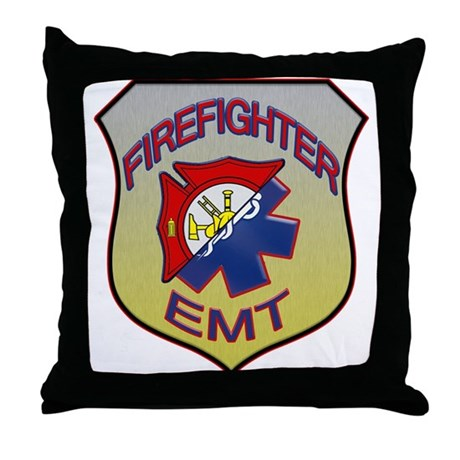 Firefighter EMT Badge Throw Pillow