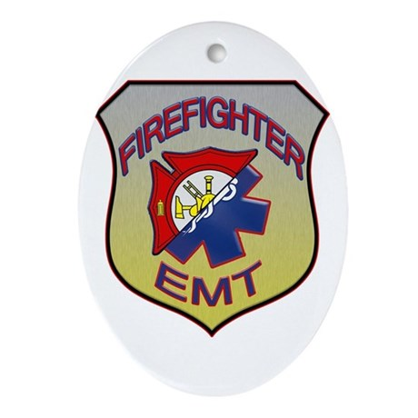 Firefighter EMT Badge Ornament (Oval)