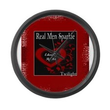 Real Men Sparkle (Edward) Large Wall Clock