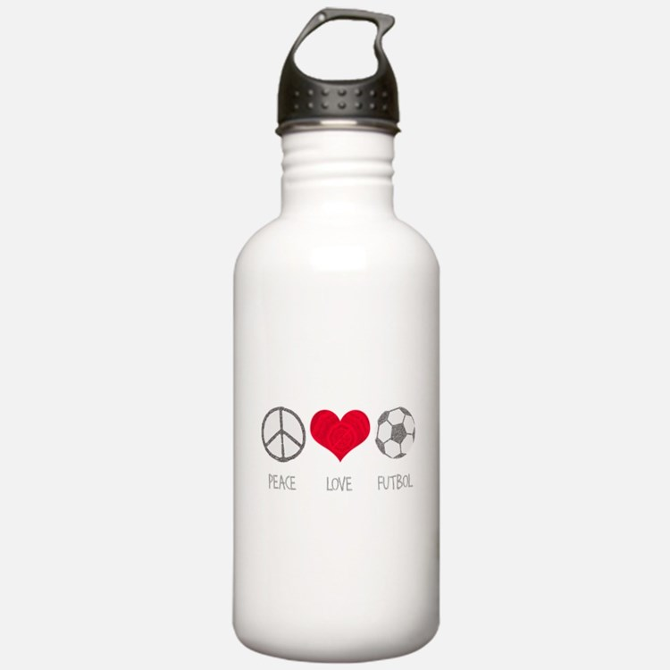 Peace Love Futbol Water Bottle