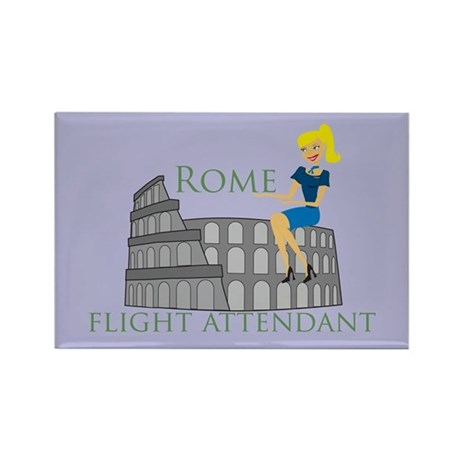 Rome Flight Attendant Rectangle Magnet