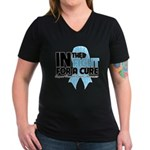 In The Fight Prostate Cancer Women's V-Neck Dark T