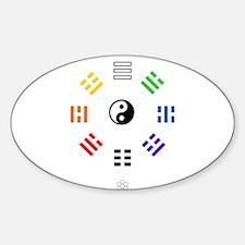 White Hex : Yi Jing Sticker (Oval)