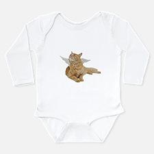 Orange Angel Cat Long Sleeve Infant Bodysuit