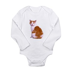 Orange and White Cat Long Sleeve Infant Bodysuit