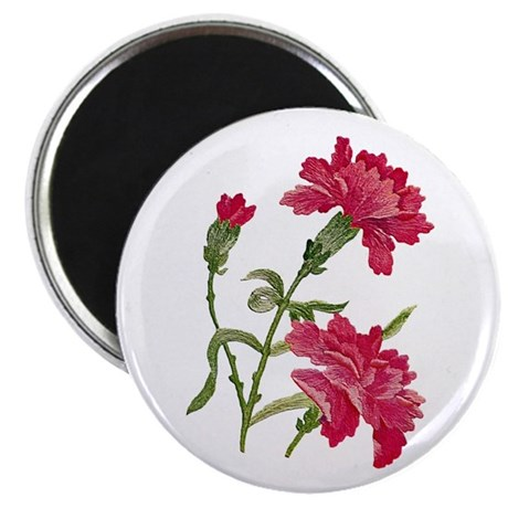 """Embroidered carnations 2.25"""" Magnet (100 pack)"""