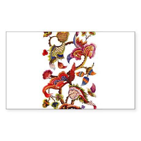 Jacobean Embroidery Sticker (Rectangle)