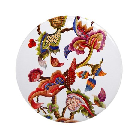 Jacobean Embroidery Ornament (Round)