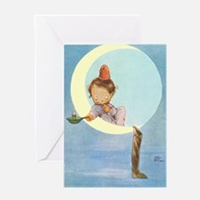 BOY IN THE MOON Greeting Card