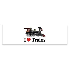 I LOVE TRAINS Sticker (Bumper)