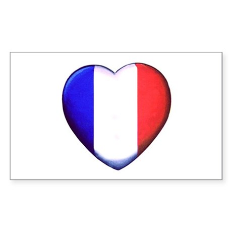 My French Heart Sticker (Rectangle)