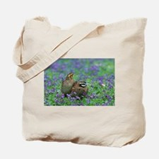 Bobwhites Among Purple Flowers Tote Bag