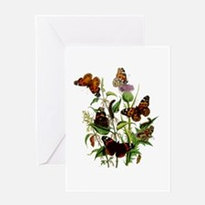 BUTTERFLIES & PURPLE THISTLE Greeting Card