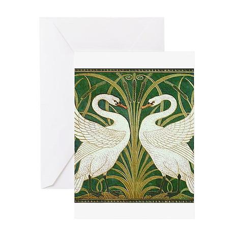 SWANS GREEN Greeting Card
