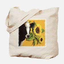 Cow with sunflowers Tote Bag