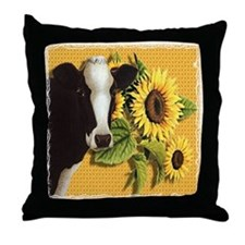 Cow with sunflowers Throw Pillow