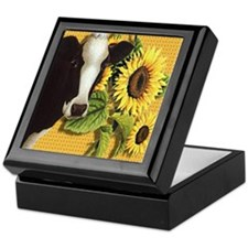 Cow with sunflowers Keepsake Box