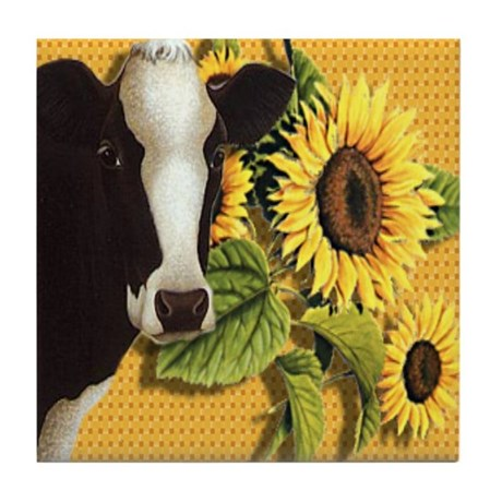 Cow with sunflowers Tile Coaster