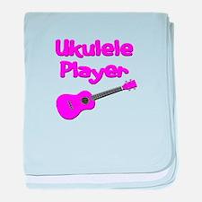 girls pink ukulele baby blanket