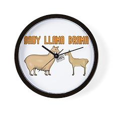Baby Llama Drama Wall Clock