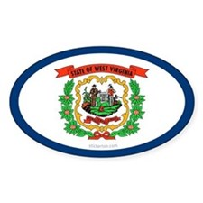 West Virginia State Flag Oval Decal