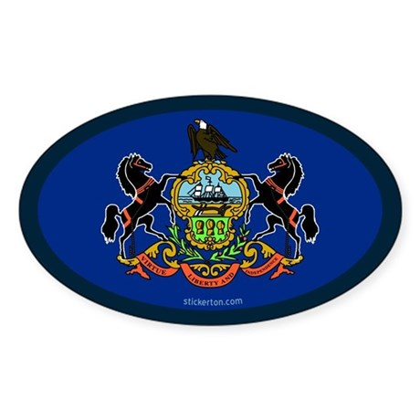 Pennsylvania State Flag Oval Sticker