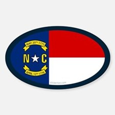 North Carolina State Flag Oval Decal