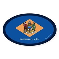 Delaware State Flag Oval Decal