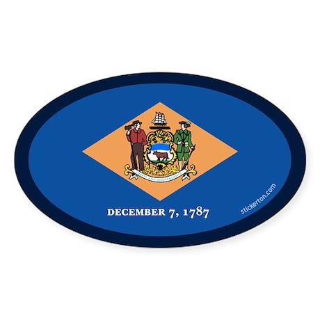 Delaware State Flag Oval Sticker